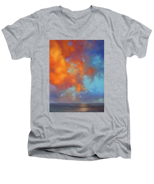Fire In The Sky Men's V-Neck T-Shirt by Vivien Rhyan