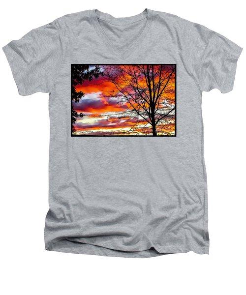 Fire Inthe Sky Men's V-Neck T-Shirt by MaryLee Parker