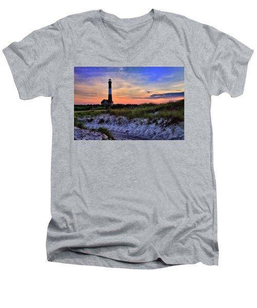 Fire Island Lighthouse Men's V-Neck T-Shirt