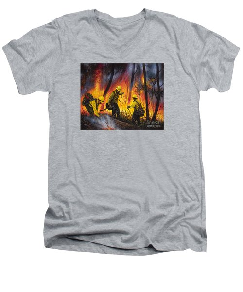 Fire Line 2 Men's V-Neck T-Shirt