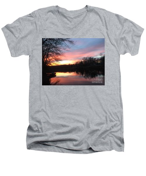 Fire On The Water Men's V-Neck T-Shirt by Jason Nicholas