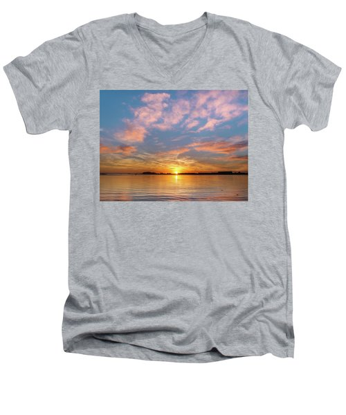 Fire Sunset On Humboldt Bay Men's V-Neck T-Shirt by Greg Nyquist