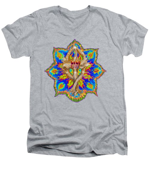 Fire Tree With Yhwh Men's V-Neck T-Shirt