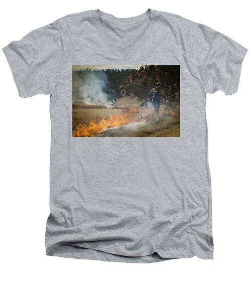 Men's V-Neck T-Shirt featuring the photograph Firefighter Ignites The Pleasant Valley Prescribed Fire by Bill Gabbert