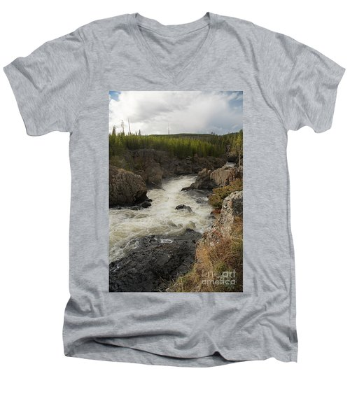 Firehole River Cascade Men's V-Neck T-Shirt by Cindy Murphy - NightVisions