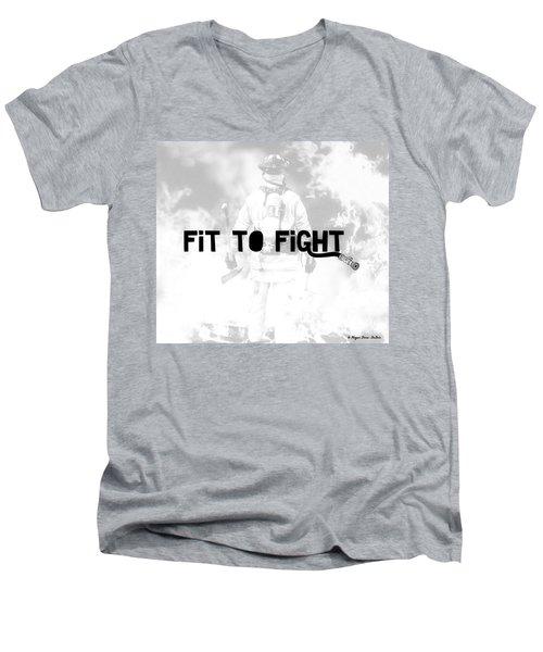 Fireman In White Men's V-Neck T-Shirt by Megan Dirsa-DuBois