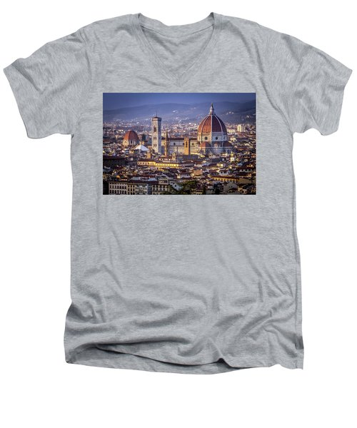 Men's V-Neck T-Shirt featuring the photograph Firenze E Il Duomo by Sonny Marcyan