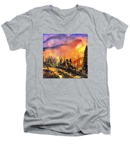 Fires In Our Mountains Tonight Men's V-Neck T-Shirt by Randy Sprout