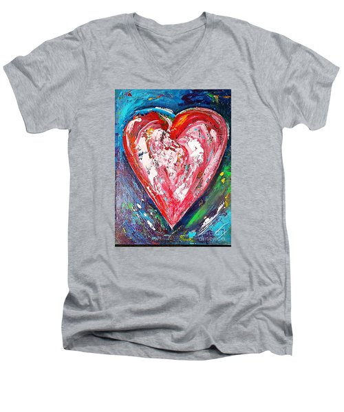 Men's V-Neck T-Shirt featuring the painting Fireworks by Diana Bursztein