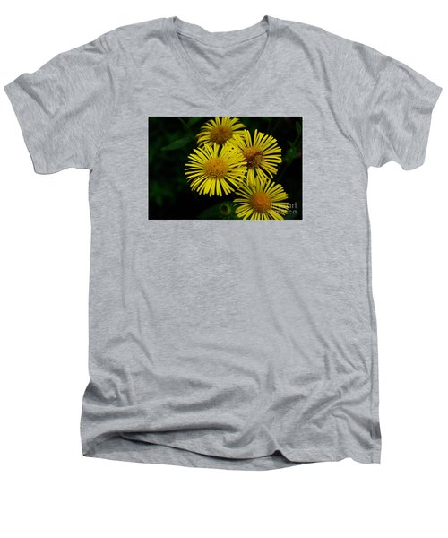 Fireworks In Yellow Men's V-Neck T-Shirt by John S