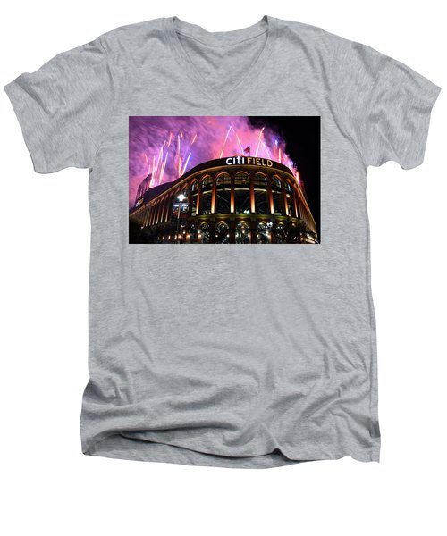 Fireworks Night At Citifield Men's V-Neck T-Shirt by James Kirkikis