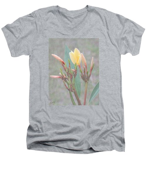 Men's V-Neck T-Shirt featuring the photograph First Bud by Rosalie Scanlon