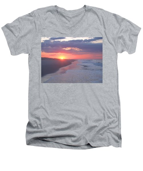 Men's V-Neck T-Shirt featuring the photograph First Daylight by Newwwman