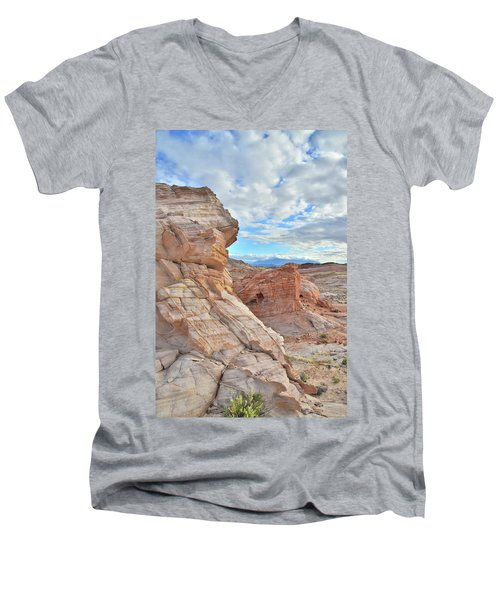 First Light On Valley Of Fire Men's V-Neck T-Shirt by Ray Mathis