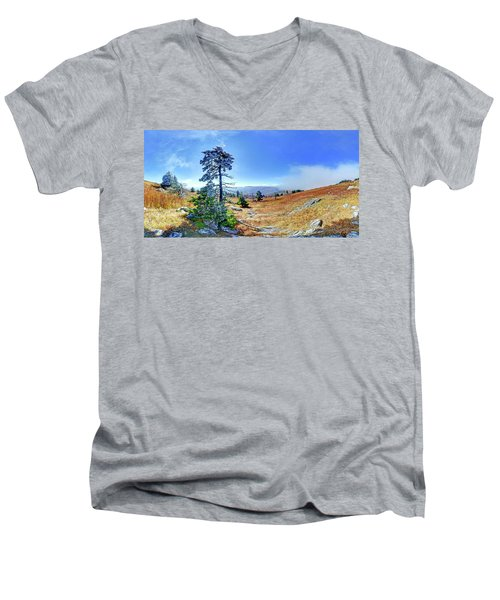 First Light Snow Men's V-Neck T-Shirt by George Randy Bass