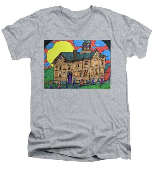 First Menominee High School. Men's V-Neck T-Shirt by Jonathon Hansen