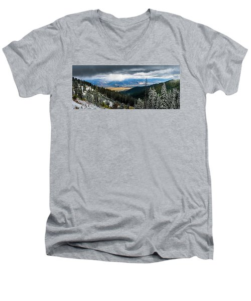 First Snow, Jackson From Teton Pass Men's V-Neck T-Shirt