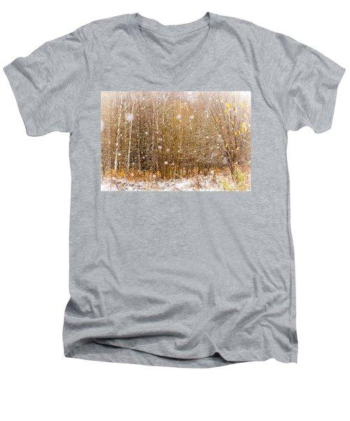 First Snow. Snow Flakes I Men's V-Neck T-Shirt