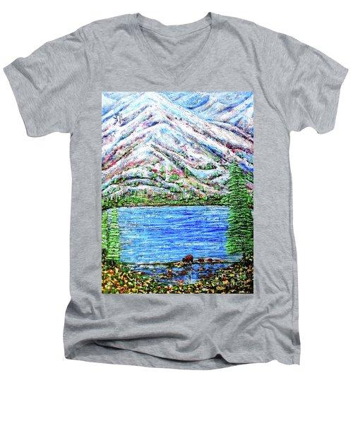 First Snow Men's V-Neck T-Shirt by Viktor Lazarev