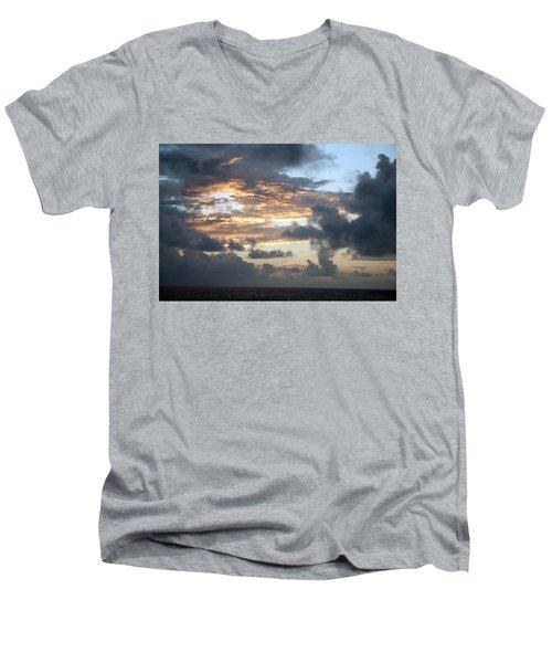 Men's V-Neck T-Shirt featuring the photograph First Sunrise  by Allen Carroll