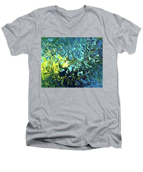 Fish Abstract Art Men's V-Neck T-Shirt by Annie Zeno