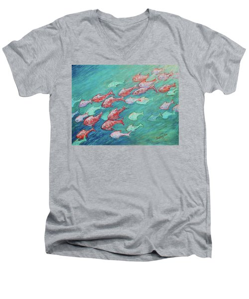 Men's V-Neck T-Shirt featuring the painting Fish In Abundance by Xueling Zou