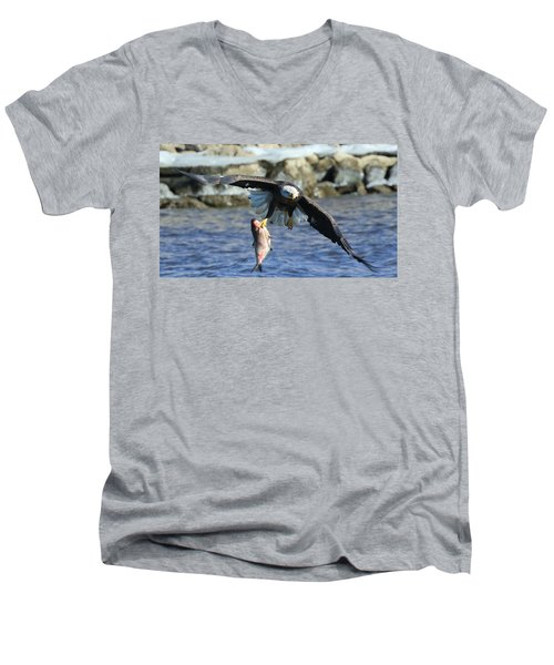 Men's V-Neck T-Shirt featuring the photograph Fish In Hand by Coby Cooper