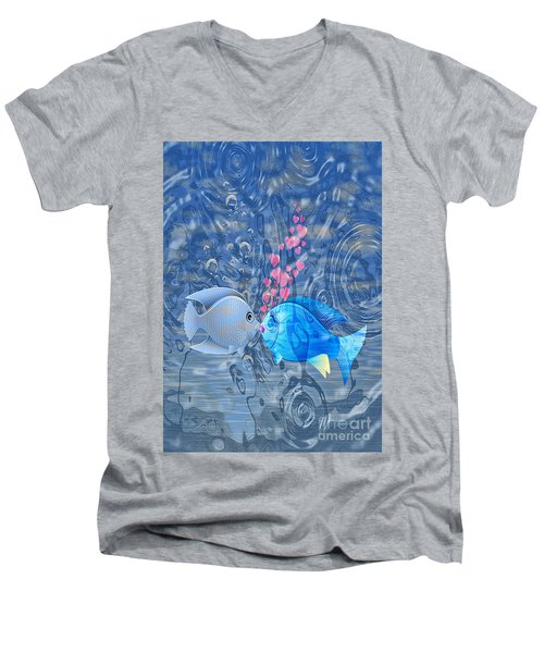 Fish In Love Men's V-Neck T-Shirt