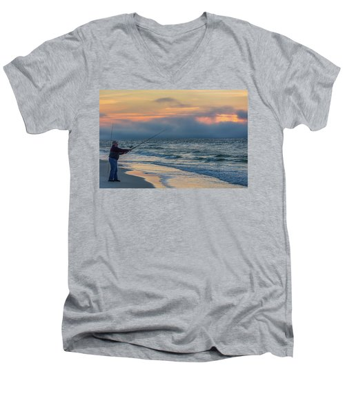 Men's V-Neck T-Shirt featuring the photograph Fish On In Alabama  by John McGraw