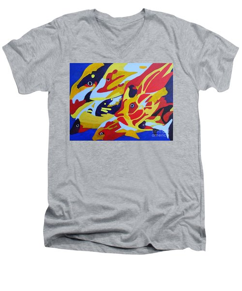 Men's V-Neck T-Shirt featuring the painting Fish Shoal Abstract 2 by Karen Jane Jones