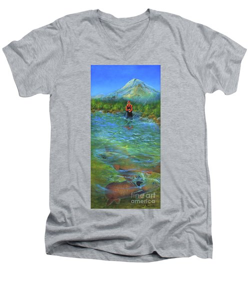 Fish Story Men's V-Neck T-Shirt by Jeanette French