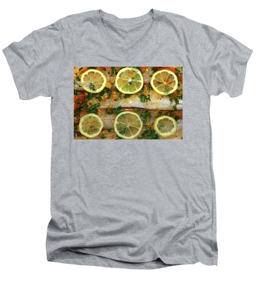 Men's V-Neck T-Shirt featuring the photograph Fish With Lemon And Coriander By Kaye Menner by Kaye Menner
