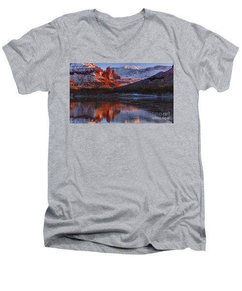 Men's V-Neck T-Shirt featuring the photograph Fisher Towers And La Sal Mountains by Adam Jewell