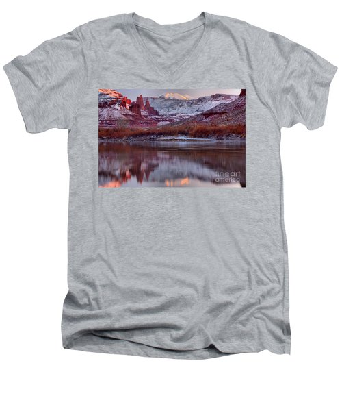 Men's V-Neck T-Shirt featuring the photograph Fisher Towers Fading Sunset by Adam Jewell