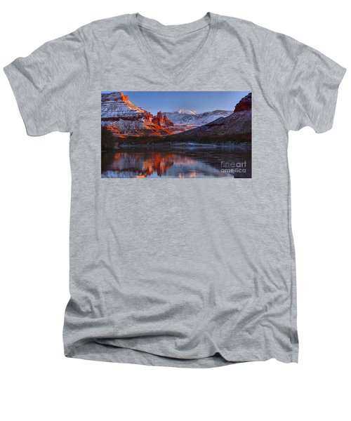 Men's V-Neck T-Shirt featuring the photograph Fisher Towers Sunset Glow Panorama by Adam Jewell