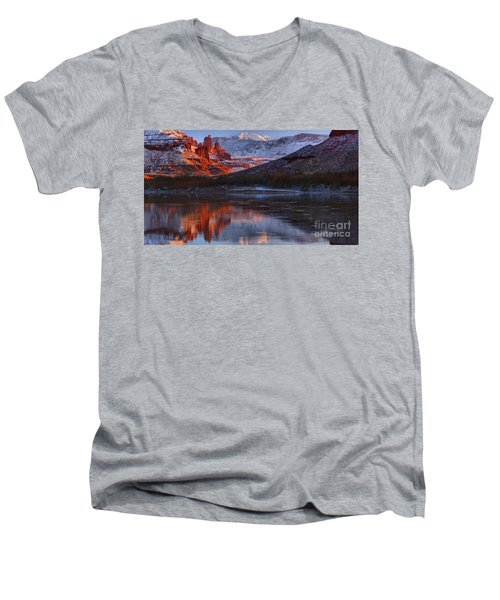 Men's V-Neck T-Shirt featuring the photograph Fisher Towers Sunset Reflection Panorama by Adam Jewell