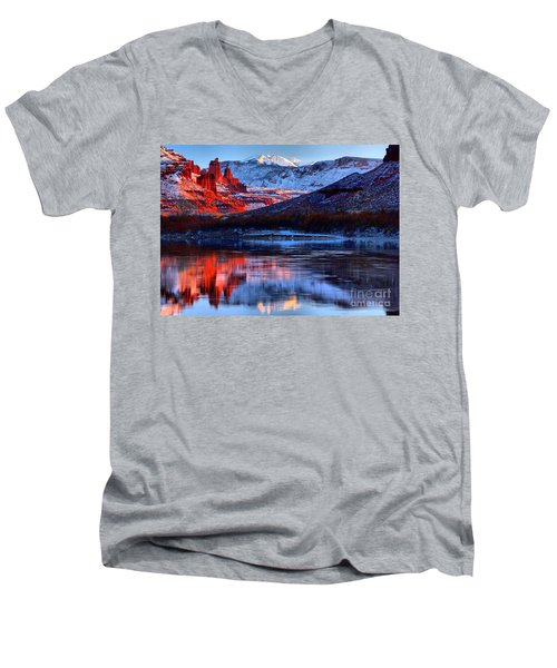 Men's V-Neck T-Shirt featuring the photograph Fisher Towers Sunset Winter Landscape by Adam Jewell