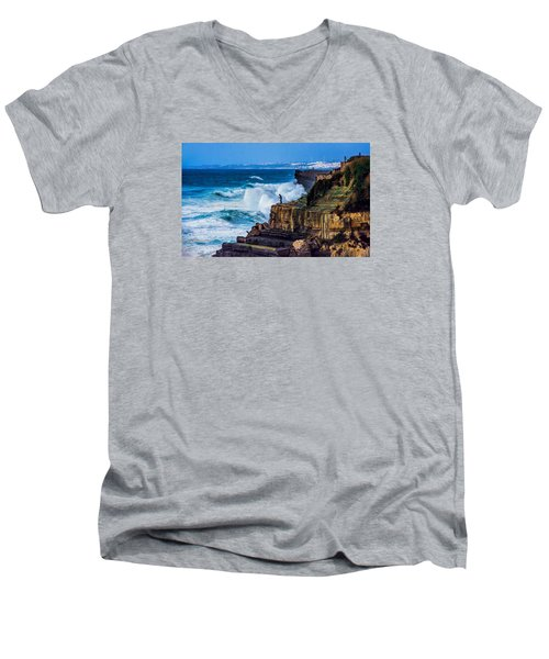 Fisherman And The Sea Men's V-Neck T-Shirt by Marion McCristall