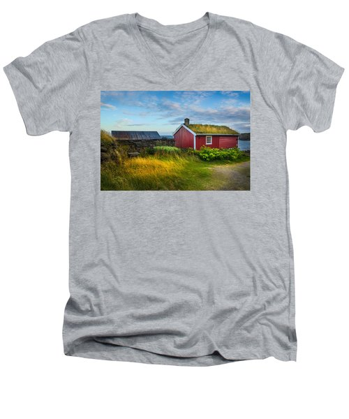Men's V-Neck T-Shirt featuring the photograph Fisherman House by Maciej Markiewicz