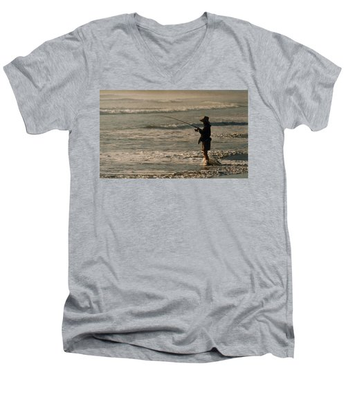 Men's V-Neck T-Shirt featuring the photograph Fisherman by Steve Karol