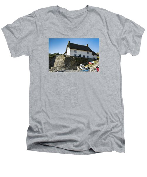 Men's V-Neck T-Shirt featuring the photograph Fishermans Cottage by Brian Roscorla