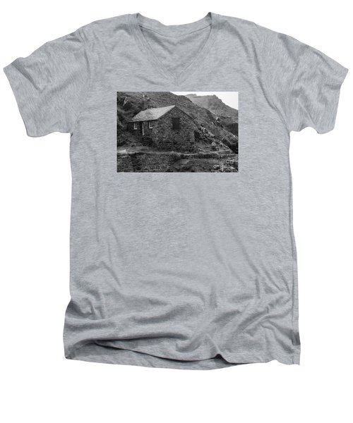 Men's V-Neck T-Shirt featuring the photograph Fishermans Net Shed by Brian Roscorla