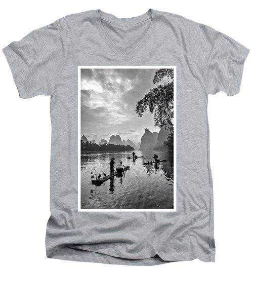 Fishermen At Dawn. Men's V-Neck T-Shirt