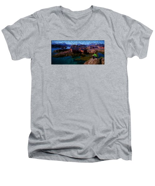 Men's V-Neck T-Shirt featuring the painting Fishermen Cabins by Mario Carini