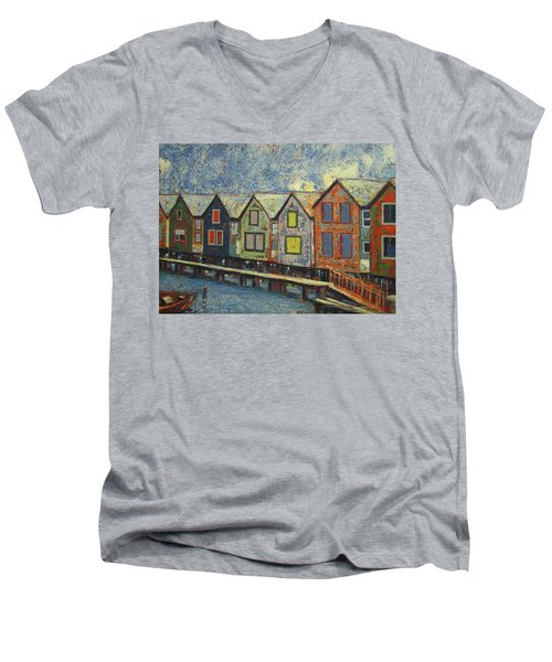 Men's V-Neck T-Shirt featuring the painting Fishermen Huts by Walter Casaravilla