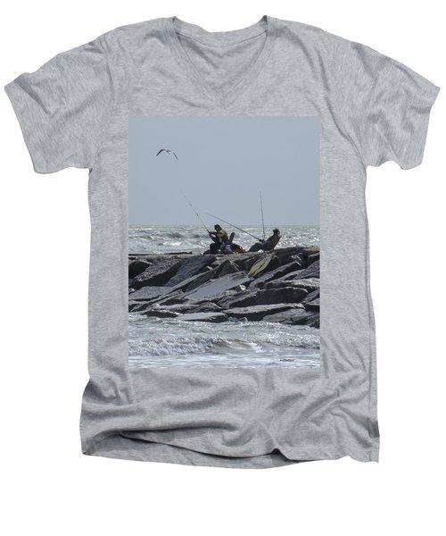 Fishermen With Seagull Men's V-Neck T-Shirt
