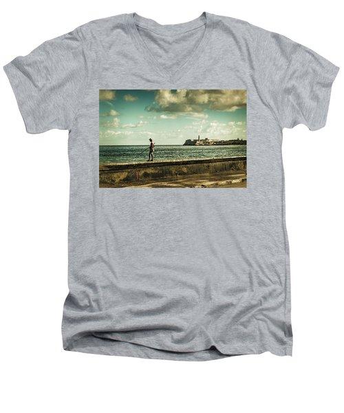Fishing Along The Malecon Men's V-Neck T-Shirt