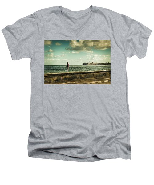 Fishing Along The Malecon Men's V-Neck T-Shirt