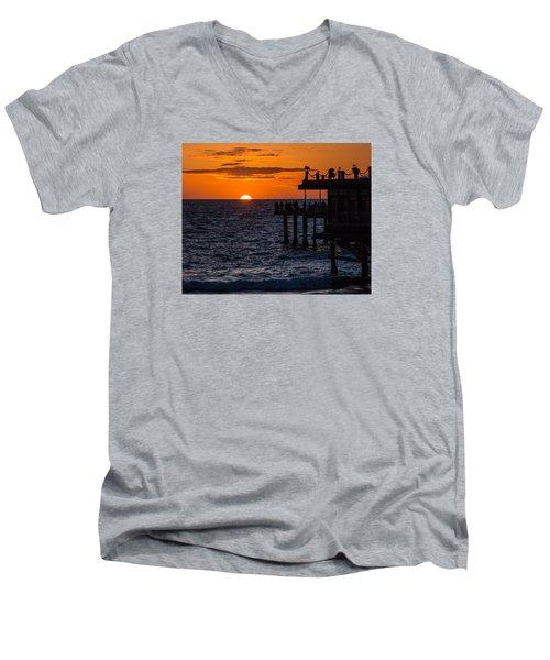 Fishing At Twilight Men's V-Neck T-Shirt by Ed Clark