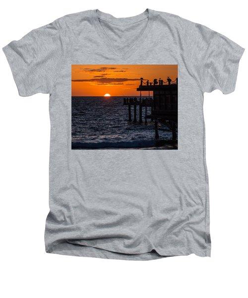 Fishing At Twilight Men's V-Neck T-Shirt